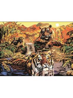 """Картины по номерам """"Тигры на ручье"""" 40х50"""