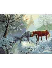 "Картины по номерам  ""Две лошади на зимнем ручье"", 40х50 см"